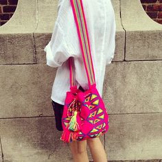 PINK NEON CARTAGENA MOCHILA TASSEL BAG by Miss Mochila #handmade