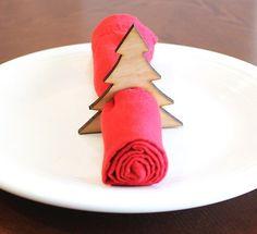 Christmas Tree Wood Napkin Rings, Pine Tree, Laser Cut Set of 4 Large