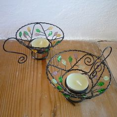 Wire & beaded teacup; tea light candle holder.