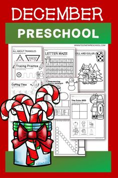 Full month of NO PREP activity worksheets. OVER 60 PAGES! This December Packet is filled with hands-on worksheets. This Packet has kids excited about learning and Preschool! All activities are appropriate skills for Preschool. NO PREP WORK. Preschool Curriculum, Preschool Printables, Preschool Worksheets, Preschool Learning, Printable Worksheets, Teaching, Letter Maze, Everything Preschool, Tracing Letters