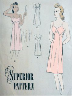 Superior F 6252 - Vintage 1940s Slip Pattern - Slinky Lingerie - 3 Styles - Sears - Underwear - DIY Nightgown - Size 12 (Bust 30) - UNUSED Lingerie Patterns, Sewing Lingerie, Vintage Lingerie, Underwear, Vintage Wardrobe, Princess Seam, Night Gown, 1940s, Lace Trim