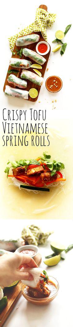 30-minute Vietnamese Vegan Spring Rolls with stir-fried crispy tofu! #healthy #vegan #glutenfree