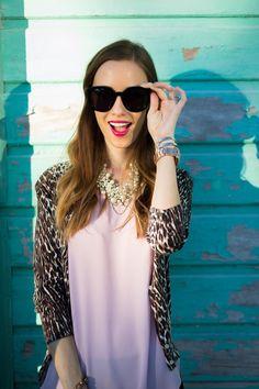 lilac blouse and leopard print sweater via M Loves M Crest 3d White, White Smile, Autumn Activities, Trouser Pants, Beautiful Smile, Black Pants, Round Sunglasses, Feminine, Fancy