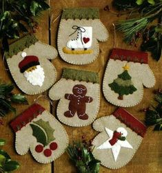 The Warm Hands Felt Christmas Ornament Kit from Rachel's of Greenfield makes 6 unique mitten ornaments. Kit includes felt, embroidery floss for embellishment, gold string for hanging, complete patterns, and illustrated instructions. Felt Christmas Decorations, Felt Christmas Ornaments, Noel Christmas, Primitive Christmas, Snowman Ornaments, Ornaments Ideas, Winter Christmas, Christmas Stockings, Christmas Runner