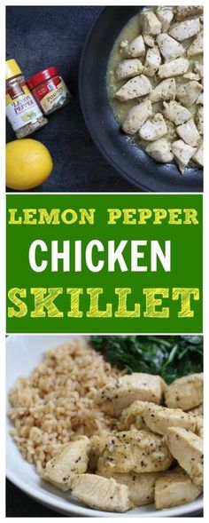 Lemon Pepper Chicken Skillet is a simple weeknight meal made with bright and fresh lemon flavors and an easy pan sauce. @Mom to Mom Nutrition- Katie Serbinski, MS, RD