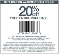Ulta 20 percent off coupon code