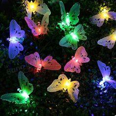 Solar 12 LED Multi-color Fiber Optic Butterfly String Decorative Light for Outdoor Home Garden Sale - Banggood Mobile