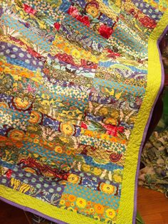 Inch by Inch Quilting: A Kaffe Fassett Tumbler quilt Jellyroll Quilts, Scrappy Quilts, Easy Quilts, Batik Quilts, Quilting Fabric, Mini Quilts, Tumbler Quilt, Colorful Quilts, Floral Quilts
