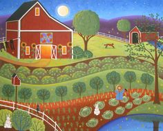 """Summer Magic"" Original Folk Art  Painting by Mary Charles."