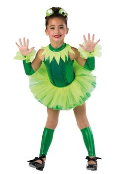 Style# 17424 PLAYING LEAP FROG  Kelly foil printed spandex short unitard with kelly sequined spandex insert and lime sequined spandex collar. Separate lime and kelly chiffon tutu. Sequin trim. Headpiece, mitts, wrist ruffles and socks included. XSC-XLC