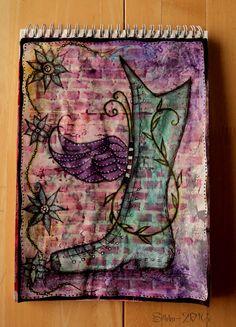 """Art Journal by *Silkku* """"fairy Shoe"""" silkkus.blogspot.fi Fairy Shoes, Art Journal Pages, Handmade, Hand Made, Craft, Handarbeit"""