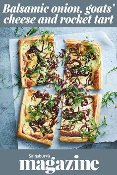 Rocket scattered over at the end adds freshness, while pine nuts provide crunch in this cheesy vegetarian tart recipe