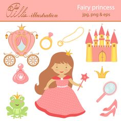 This Fairy princess clipart set comes with 11 clipart graphics featuring beautiful little princess, castle, carriage, shoes, princess frog, crown,  diamond ring, necklace, mirror, perfume and magic wand.