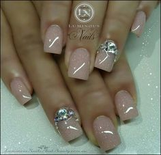 Shimmery Nude Nails with a touch of bling