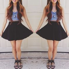 sandals, high waisted skirt, crop top <3