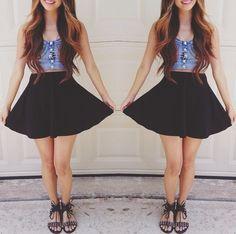 sandals, high waisted skirt, crop top <3
