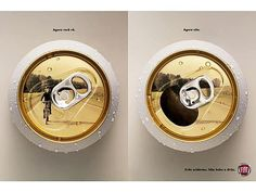 """Part of Fiat's campaign against drunk driving.  The Portuguese text on the left says """"now you see it"""", and on the right it says """"now you don't""""."""