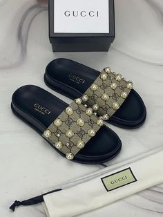 Gucci Slides size 9 new with box<br> Sandals Outfit, Cute Sandals, Sport Sandals, Slide Sandals, Cute Shoes, Me Too Shoes, Women Sandals, Gucci Fashion, Fashion Shoes