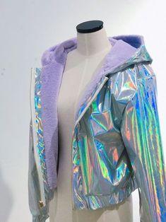 2 sides holographic jacket in 2019 Holographic Jacket, Holographic Fashion, Holographic Fabric, Kawaii Fashion, Cute Fashion, Girl Fashion, Fashion Black, Fashion Ideas, Vintage Fashion