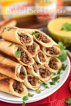 These Baked Beef Flautas with Queso Dip are sure to please the entire crowd at your next party! | MomOnTimeout.com | #appetizer #recipe #ad #RecipeSerendipity #recipe #food #cooking