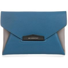 GIVENCHY Antigona leather envelope clutch ($810) ❤ liked on Polyvore featuring bags, handbags, clutches, givenchy, blue, envelope clutch, givenchy handbags, leather envelope clutch, blue handbags and blue leather handbags