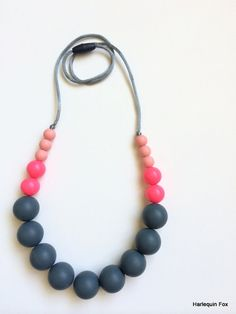 Silicone Teething Necklace / Nursing Necklace by HarlequinFox