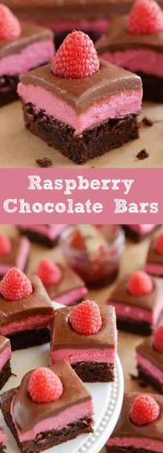 Raspberry Chocolate Bars! Layer of delicious brownie, raspberry cream and easy chocolate ganache!