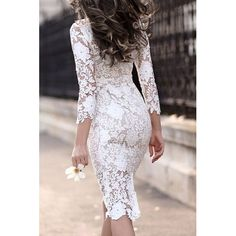 28 Chic Spring Bridal Shower Outfits To Get Inspired: adorable white lace midi dress with half sleeves and black velvet heels Trendy Dresses, Cute Dresses, Beautiful Dresses, Fitted Dresses, Bridal Gowns, Wedding Dresses, Prom Dresses, Dresses 2016, Evening Dresses
