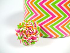 Tangy Neon Duct Tape Rose Ring  Zig Zag Duck Tape