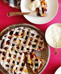 Peach & blackberry walnut pies