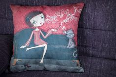 Cushion cover Illustration : Oh la la by porquesuenio on Etsy