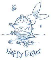Funny Easter Bunny hiding behind easter egg, flower egg decoration, pattern. Hand drawn vector illustration.
