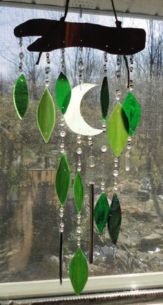 Moonlight Through The Trees, Stained Glass Windchimes, Mobile, Wall Hanging.