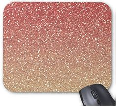 Coral Pink and Gold Faux Glitter Non-Slip Computer Accessories Gift of Mousepad Mouse Mat -- Awesome products selected by Anna Churchill