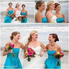 Bridesmaids, Blue, Outdoor Wedding, Vera Wang, NC Beach Wedding Photography www.stephenthriftphoto.com