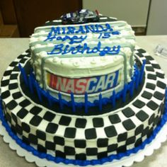 NASCAR birthday cake . Hmmm I have a birthday in July... What an idea!! Lol