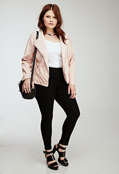 Collarless Faux Leather Jacket | Forever 21 PLUS - 2000136100