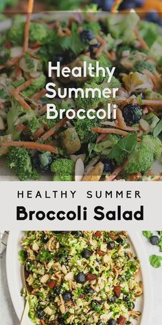 Delicious healthy broccoli salad recipe made with simple ingredients like fresh blueberries carrots sweet dried apricots almonds and sunflower seeds This easy dairy free broccoli salad has no mayo is Healthy Broccoli Salad, Broccoli Recipes, Healthy Salad Recipes, Raw Food Recipes, Delicious Recipes, Vegetarian Meal Prep, Healthy Meal Prep, Healthy Cooking, Summer Vegetarian Recipes
