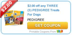 $2.00 off any THREE (3) PEDIGREE Treats For Dogs #coupon