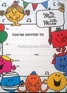 Mr Men Little Miss Birthday Party Invitation Pad. 20 Sheets.