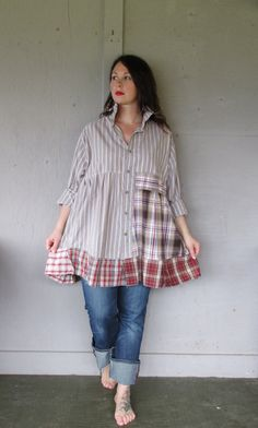 1 X 2 X 3 X upcycled tunic dress / oversize shirt / Boho Patchwork clothing…