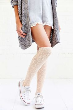 Reverse Terry Knit Knee-High Sock - Urban Outfitters