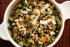 Coconut quinoa kale warm salad with  cashew pesto. #vegan