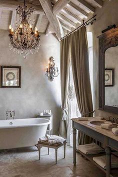 41 Elegant Country Bathroom Design Ideas To Try This Month - A lovely country bathroom design would have to have a central focal point of interest, an expensive footed bath tub. There are many styles that are as. Country Style Bathrooms, French Country Bedrooms, French Country House, French Country Bathroom Ideas, European House, French Cottage, French Decor, French Country Decorating, Home Design