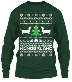 SOMEONE BUY THIS FOR MEEEE. Walking in a Wiener Wonderland - Ugly Christmas Sweater featuring Dachshunds.