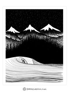"""Night Surf Art Print. Gallery quality Giclee print on natural white, matte, ultra smooth, 100% cotton rag, acid and lignin free archival paper using Epson K3 archival inks. Custom trimmed with 1"""" bord"""