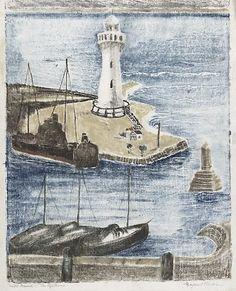 The lighthouse, by Margaret Preston :: The Collection :: Art Gallery NSW Margaret Rose, Margaret Preston, Paul Cezanne, Wassily Kandinsky, Australian Artists, Henri Matisse, Impressionist, Sailing Ships, Art Gallery