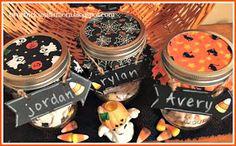 Halloween Gift Jars with Halloween Puppy Chow Recipe