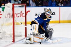 ST. LOUIS, MO - OCTOBER 8: Brian Elliott #1 of the St. Louis Blues makes a save against the Edmonton Oilers on October 8, 2015 at Scottrade Center in St. Louis, Missouri. (Photo by Scott Rovak/NHLI via Getty Images)