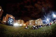 Students enjoying a film outside Mountainview College